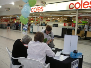 Recruiting volunteers at Australind Shopping Centre